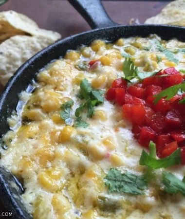 This warm and spicy Mexican Corn Dip is the perfect Happy Hour appetizer, and can be made with items from your pantry and fridge!