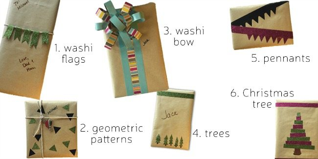 6 ways to gift wrap with washi tape