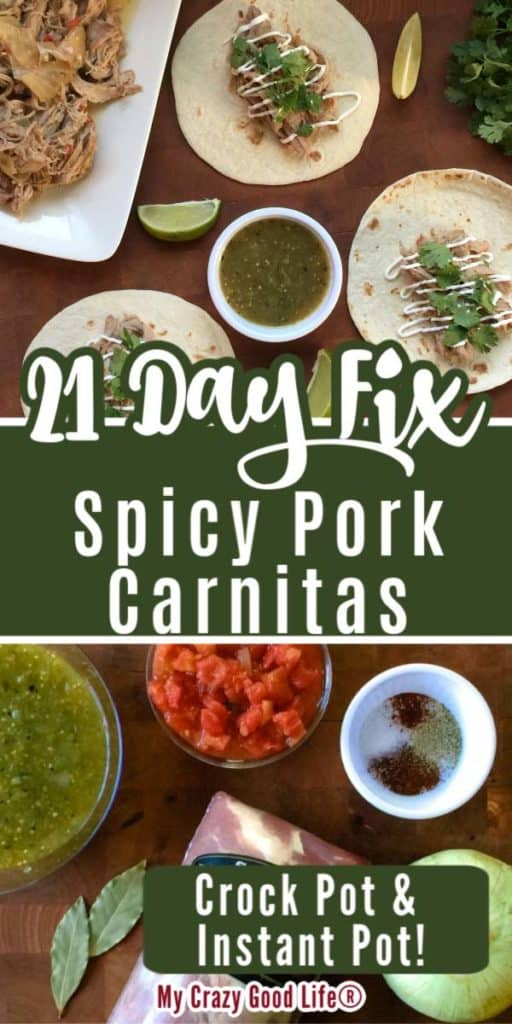 collahe image of ingredients for pork carnitas and plated carnitas