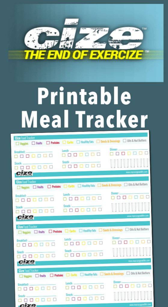picture regarding Meal Tracker Printable named Free of charge Printable Cize Evening meal Tracker - My Insane Superior Lifetime