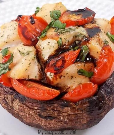 finished caprese chicken stuffed mushrooms