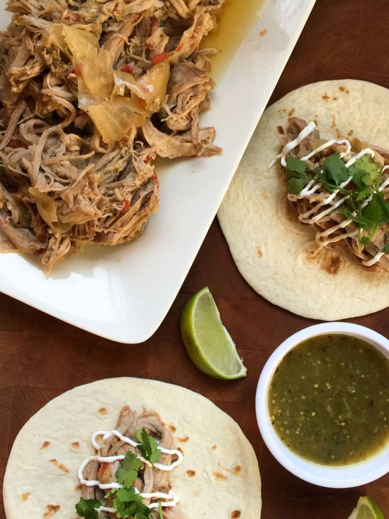plated pork carnitas for the 21 day fix
