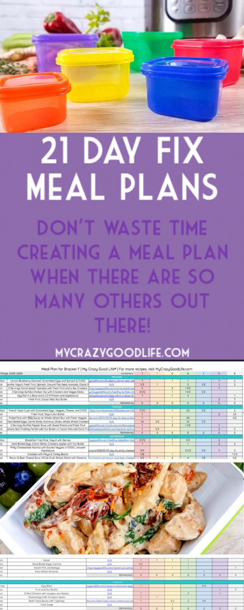 21 Day Fix Meal Plans - My Crazy Good Life