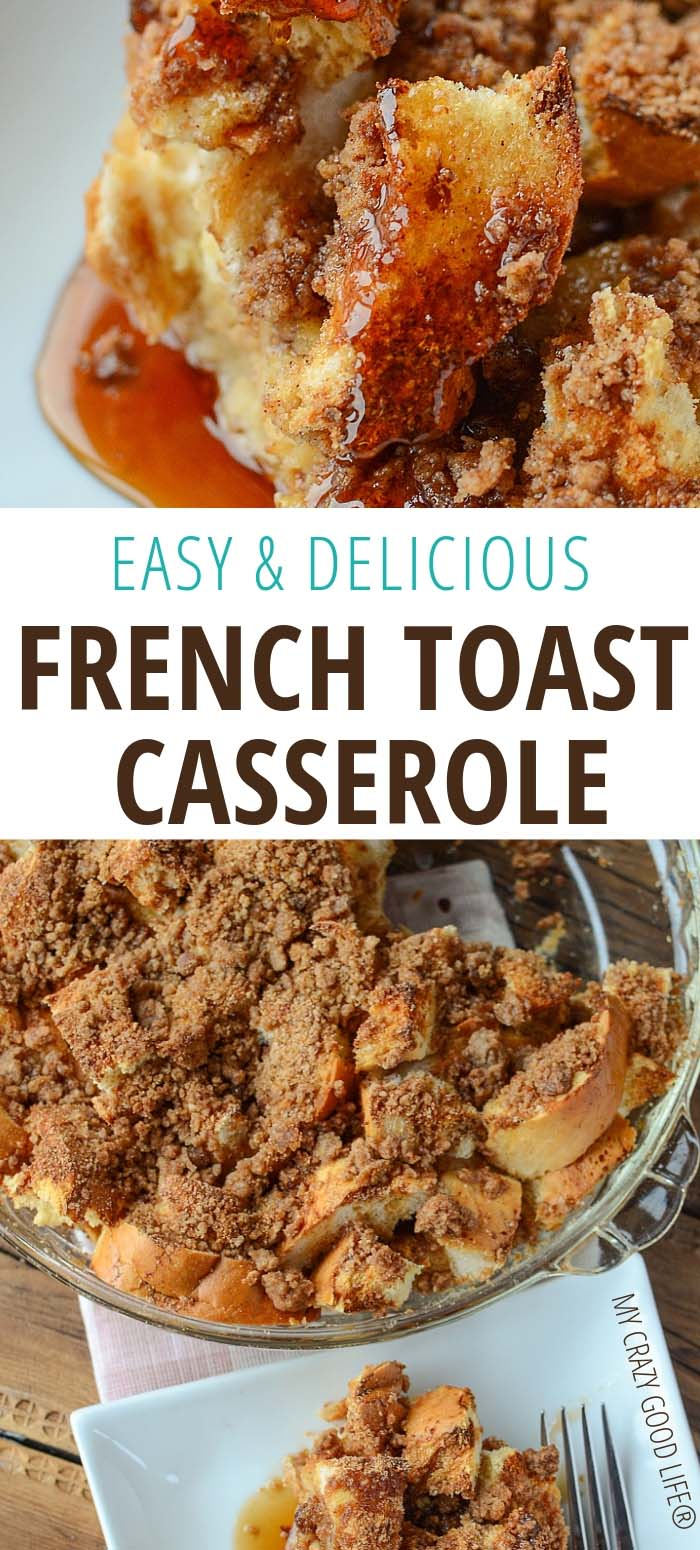 french toast casserole on white plate and in casserole dish-image with text for pinterest