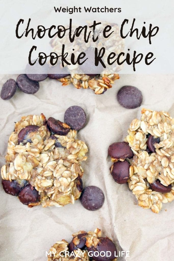 These Weight Watchers Chocolate Chip Cookies are delicious! Banana Oatmeal Chocolate Chip Cookies are easy to make with very few ingredients, and they keep well in the fridge. Kids love them, and they're perfect for your sweet tooth! Weight Watchers Cookie | WW Cookie | Smart Points | Weight Watchers Dessert