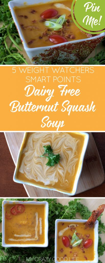 Dairy free Butternut Squash Soup using coconut milk. It's even delicious with no cream at all! 21 Day Fix friendly and Weight Watchers friendly too!