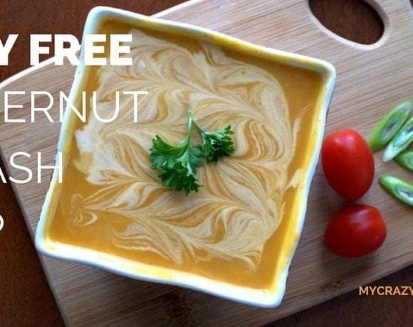 This Dairy free butternut squash soup is a delicious way to warm up on a chilly or rainy day. Stick it in the crock pot to cook all day, or whip it up in your Vitamix for a quick dinner. Coconut milk makes this soup dairy free, or you could use heavy cream if you prefer. It's even delicious with no cream at all!