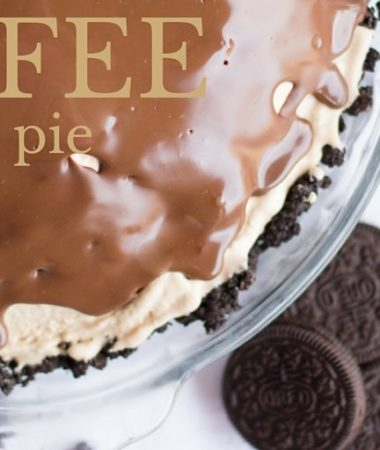 This coffee ice cream pie is a no bake treat! A crunchy Oreo cookie crust with coffee ice cream filling and chocolate syrup to top it off. It's a family birthday favorite!
