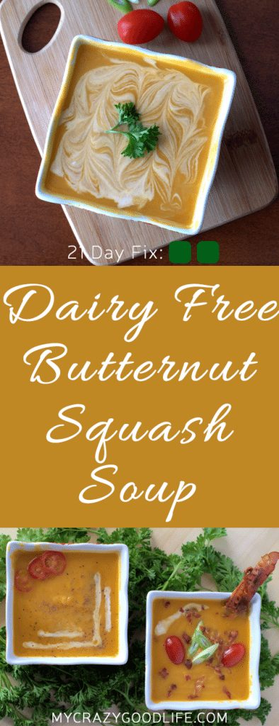 This Dairy free butternut squash soup is a delicious way to warm up on a chilly or rainy day. Stick it in the crock pot to cook all day, or whip it up in your Vitamix for a quick dinner. Coconut milk makes this soup dairy free, or you could use heavy cream if you prefer. It's even delicious with no cream at all! 21 Day Fix Friendly