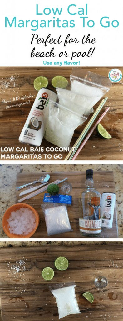 These low-cal coconut margaritas to go are perfect for the beach or the pool! Carry your drink with you and pre-fill bags so you don't have to leave the party later! Use my low-cal margaritas recipe or fill the pouches with your favorite recipe!