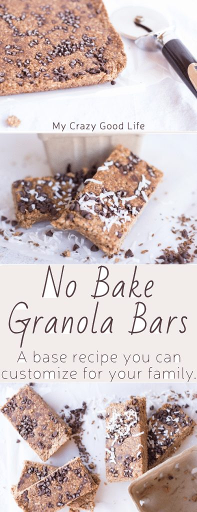 These no bake granola bars are the perfect base recipe that you can customize for your family. The base is made from peanut butter and honey. Kids LOVE to help with these!