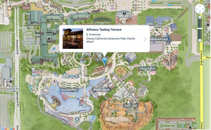 Where to find alcohol in California Adventure: Alfresco Tasting Terrace