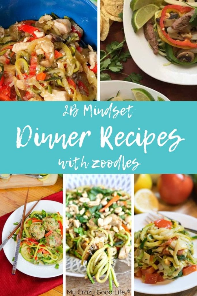 collage of recipe pictures with zoodles