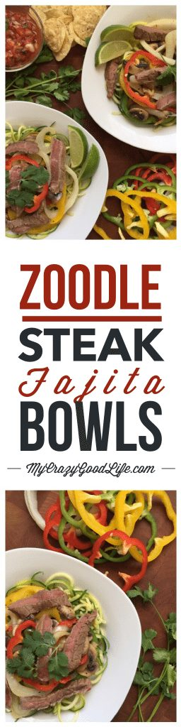 Zoodle recipes are so popular right now for good reason–zoodles are delicious and healthy! You can add zucchini noodles to almost any meal and their hearty texture is satisfying and filling. I hope you love these Steak Fajita Zoodles as much as we do. 21 Day Fix friendly.