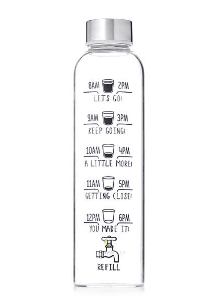 water bottle with lines for where to drink to