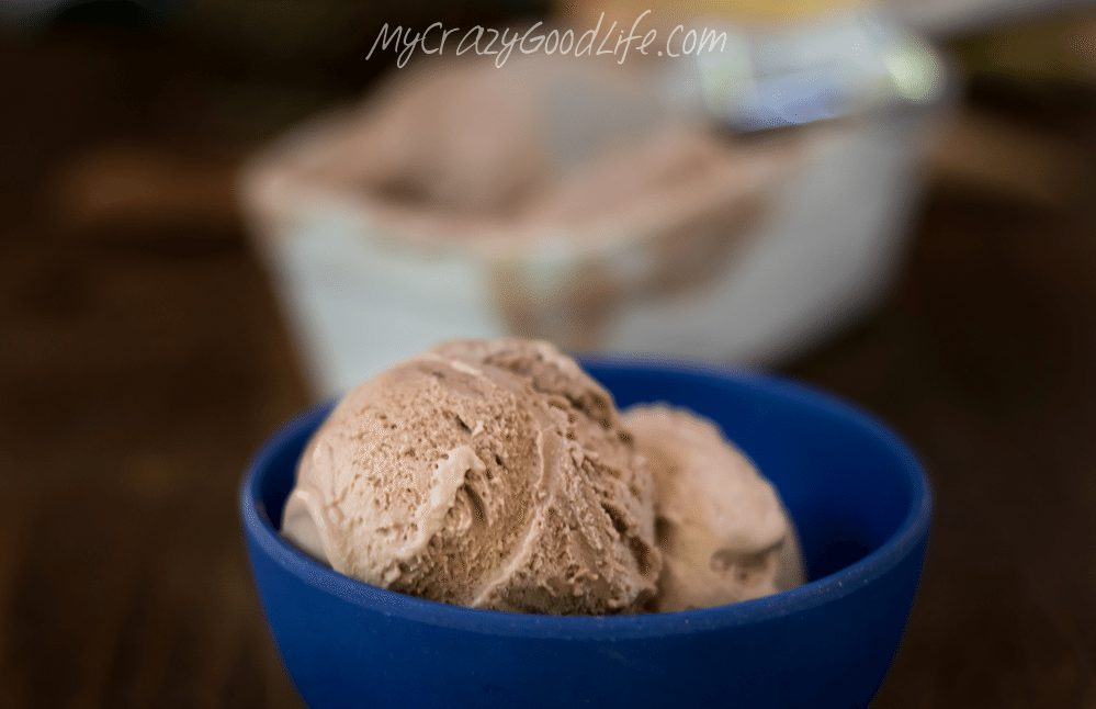 "Ice cream doesn't have to be ""bad."" This dairy free, no churn chocolate ice cream is not only healthier ice cream, it's so easy to make! You'll just need 4 ingredients."