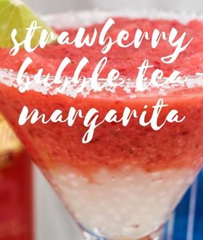 Bubble tea is popping up everywhere around the United States, and now there are bubble tea cocktails too! I thought I'd share this fun Strawberry Bubble Tea Margarita because... well... margaritas :)