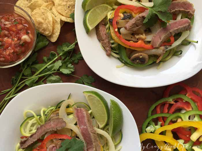 Zoodle recipes are so popular right now for good reason–zoodles are delicious and healthy. You can add zucchini noodles to almost any meal and their hearty texture is satisfying and filling. I hope you love these Steak Fajita Zoodles as much as we do.