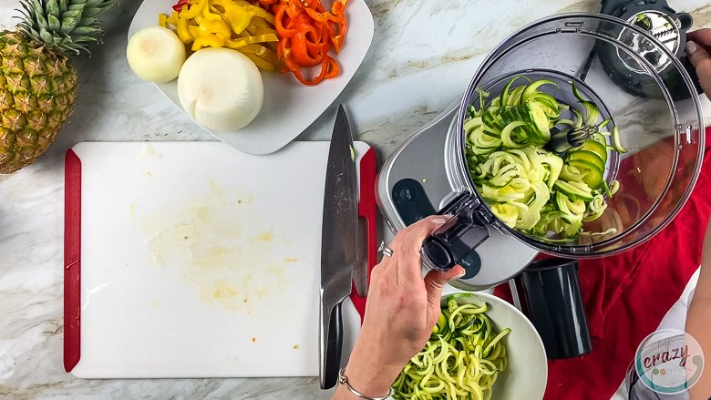 making zucchini noodles in food processor