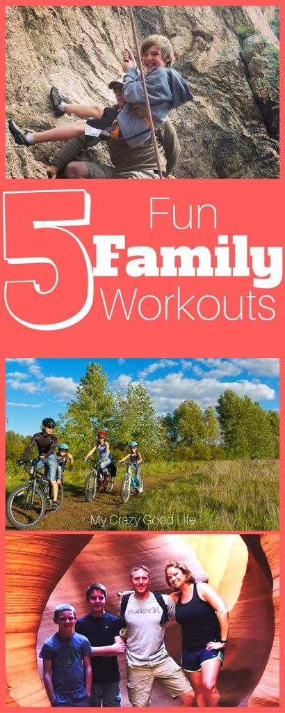 The best way to teach your kids about health and fitness is to show them! Here are five fun family workouts that your entire family can do together: Crossfit, Hiking, Rock Climbing, Biking, and Canoeing.