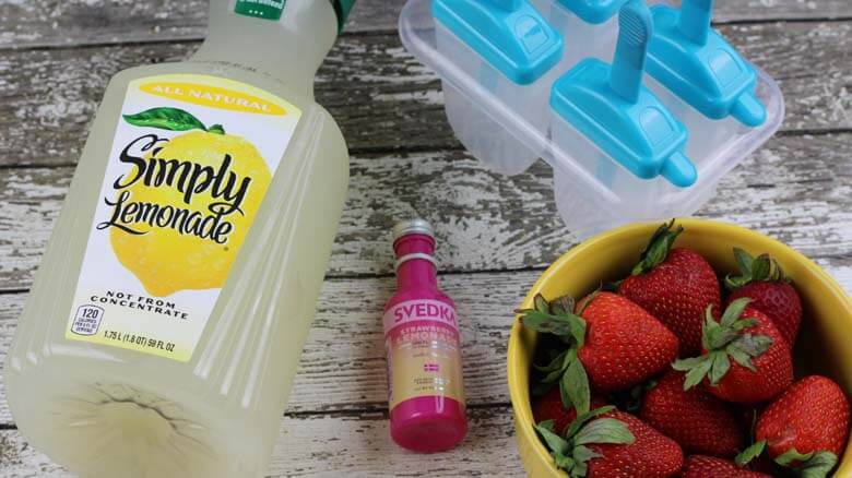 ingredients in strawberry vodka popsicles