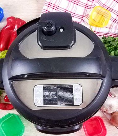 instant pot from above with fresh vegetables around it