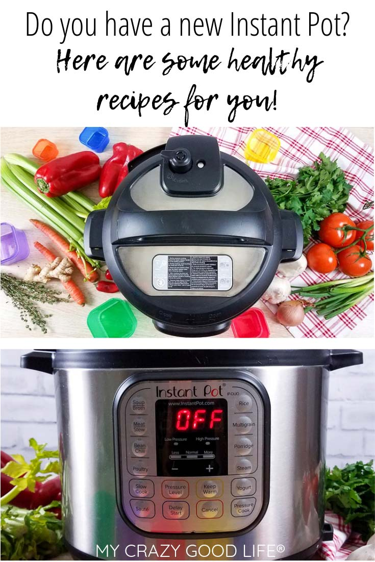 image with text of instant pot and veggies