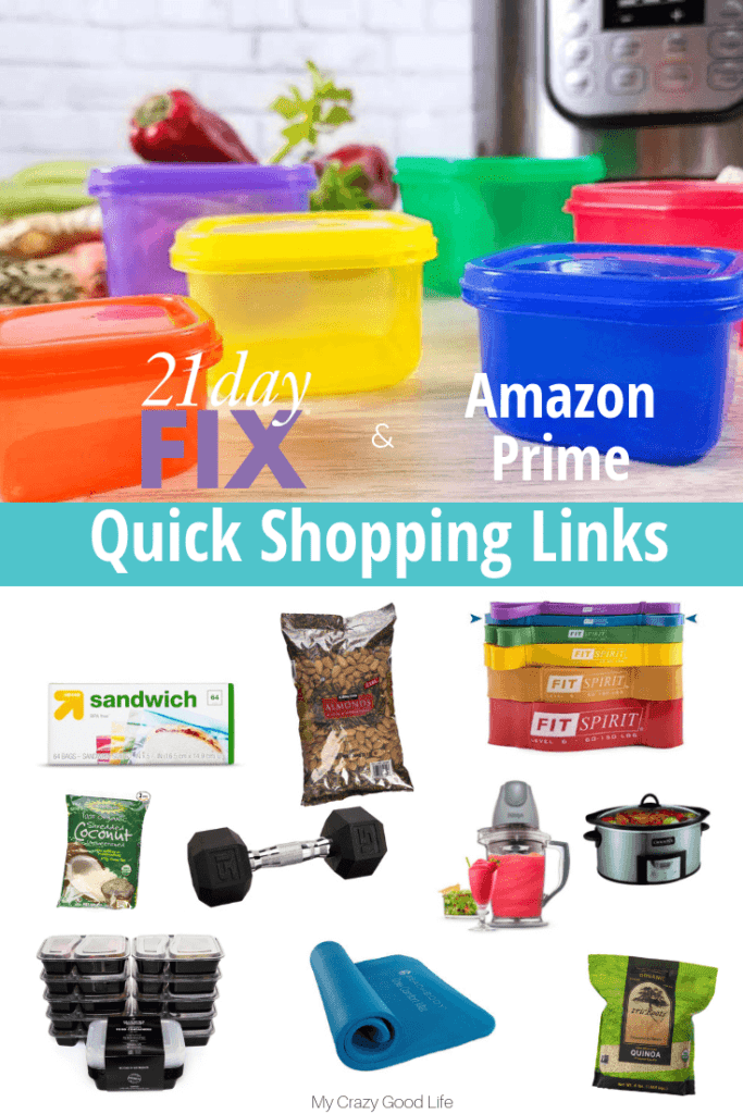 Ready to start the 21 Day Fix? This list of 21 Day Fix Amazon Prime shopping links will same you time and money, and most will be at your door in 2 days!