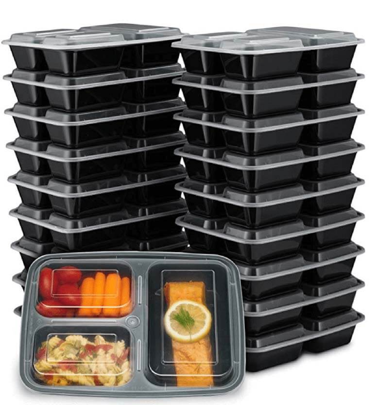 stack of black meal prep containers with clear lid