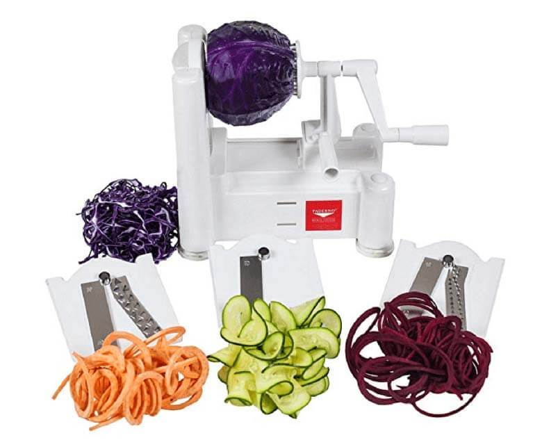 white spiralizer with veggies