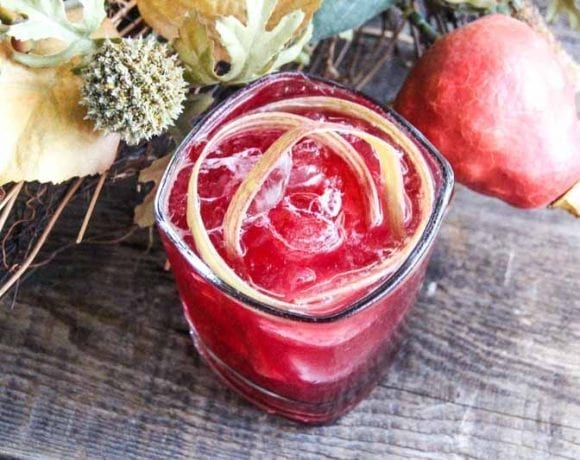 Create the taste of fall with this Autumn Bourbon Cocktail, garnished with Rhubarb.