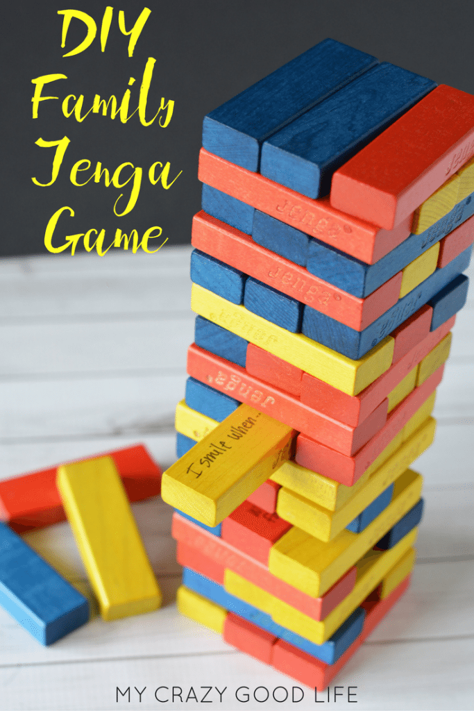 Turn your boring, regular game into an amazingly entertaining DIY Family Jenga! Everyone will be thinking, moving, and laughing before you know it!