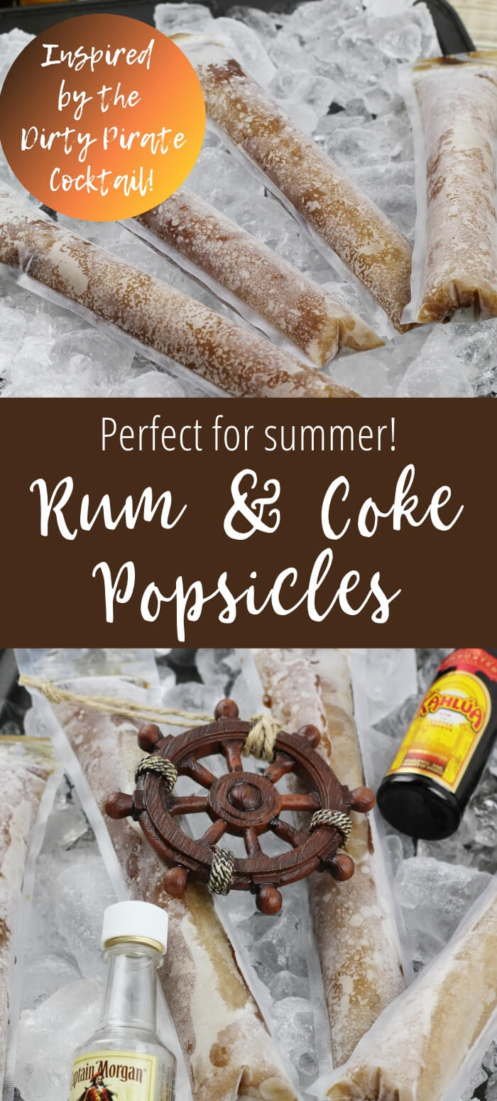 collage of rum popsicles on ice