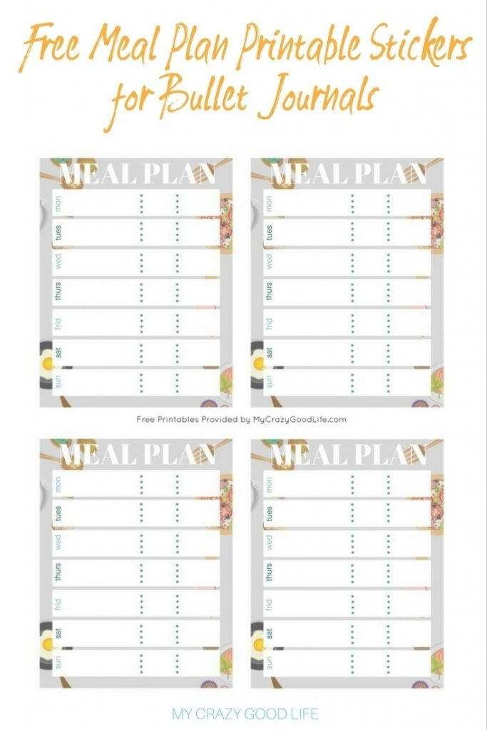 image relating to Free Printable Food Planner Stickers identified as Absolutely free Supper Method Printable Bullet Magazine Stickers - My Insane