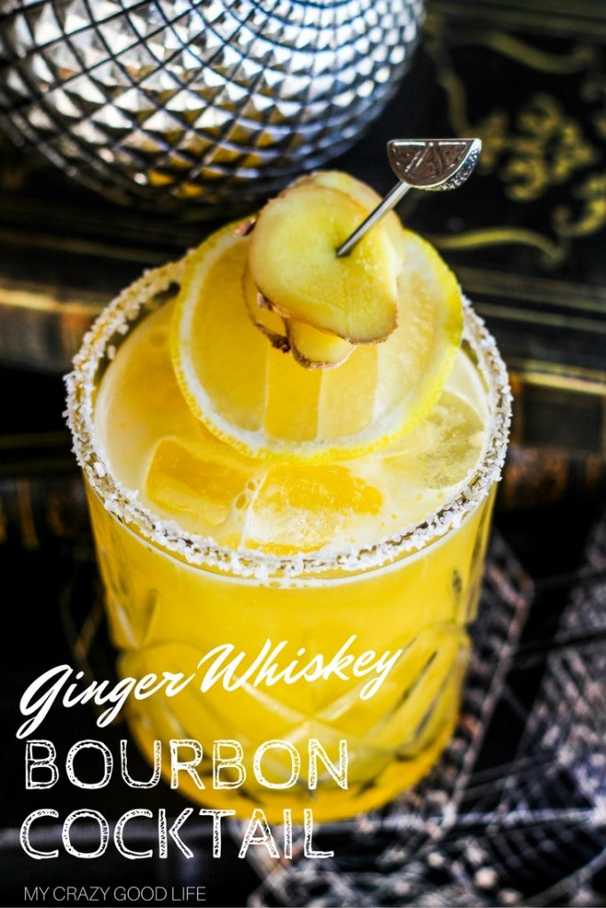 This Ginger Whiskey Bourbon Cocktail is not only beautiful, it's tasty! This one cocktail will be a hit for your next party or gathering as well!