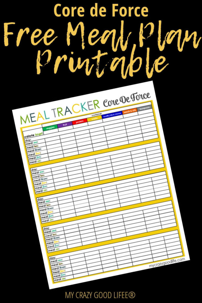 Core de Force is a Beachbody program that combines MMA with Boxing and cardio. The Core De Force nutrition plan is based on colored containers and counting macros so I thought these meal plan printables would come in handy! #cdf #coredeforce