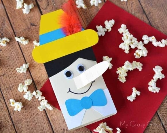 This easy Pinocchio party craft will help you enjoy movie night! Don't forget to grab Pinocchio on Blu Ray today!