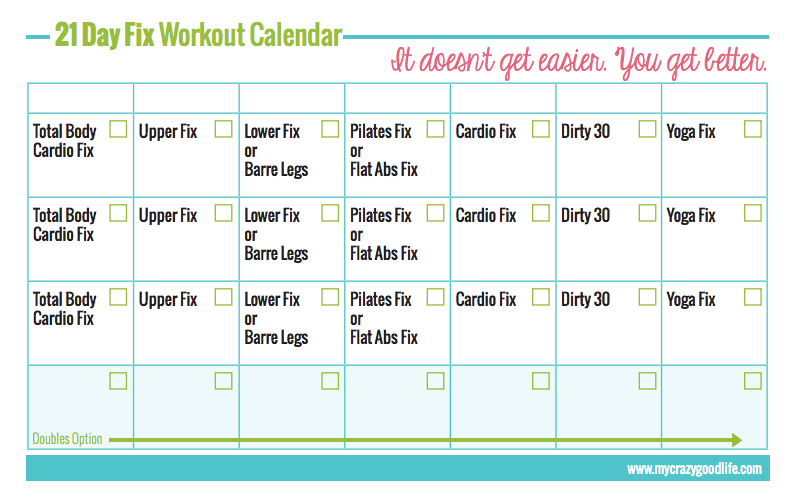 21 Day Fix Workout Schedule | My Crazy Good Life