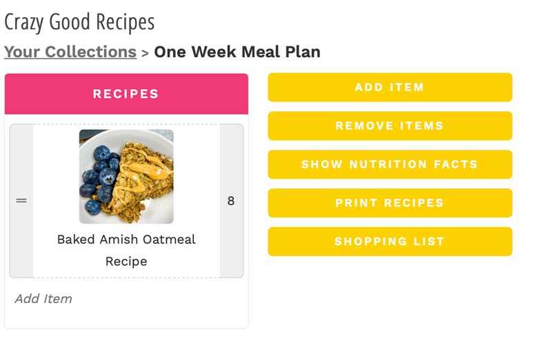 screenshot of how to use the recipe box