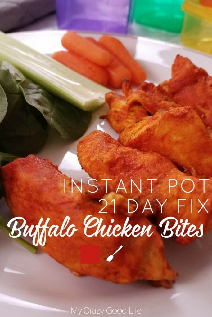 These 21 Day Fix Buffalo Chicken Bites will satisfy your craving! These Instant Pot Buffalo Chicken Bites can be made from fresh or frozen chicken. #21dayfix #instantpot #recipes #beachbody #pressurecooker