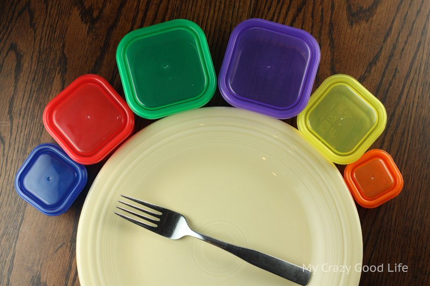 a dinner plate with 21 day fix containers
