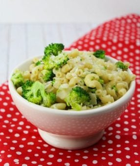 One of our favorite backyard barbecue recipes is this easy to make Parmesan Pasta Salad with Broccoli. It's perfect for bringing to a pot luck or baby shower!