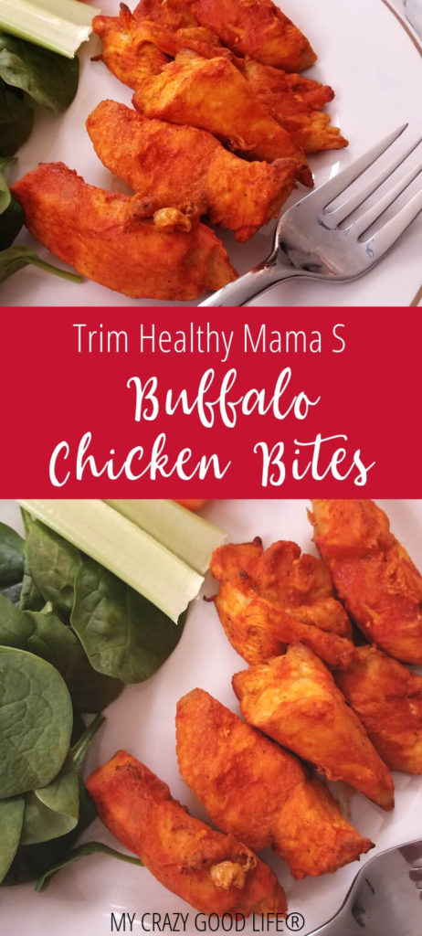 Trim Healthy Mama buffalo chicken bites make a great snack or an easy dinner recipe! They're full of protein and way less fat than actual chicken wings!