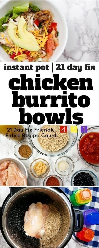 This 21 Day Fix Burrito Bowl recipe is prefect for meal prep day! Cook this Instant Pot Burrito Bowl recipe once and eat all week long!
