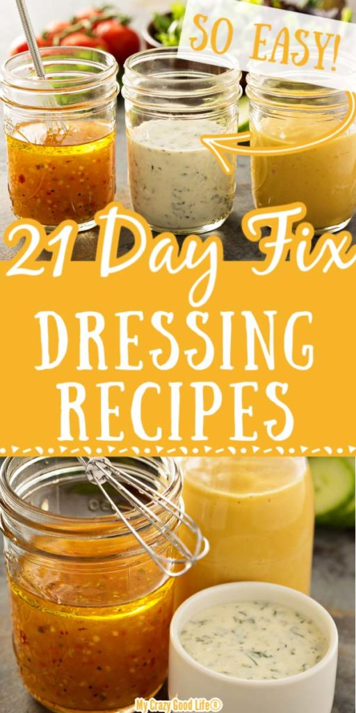 images of 21 day fix salad dressings with text for Pinterest