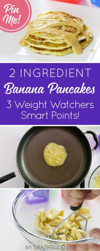 This 2 Ingredient Banana Pancake Recipe is delicious and such an easy healthy breakfast recipe. Just a few simple ingredients makes this recipe perfect for Weight Watchers. Just 3 Smart Points per serving!