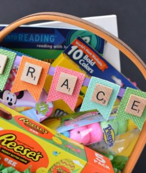 These adorable and customized Easter Baskets are the perfect Scrabble Tile Craft! They're an easy DIY Easter Basket that can be personalized several ways.