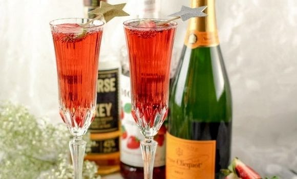 Strawberry Whiskey Champagne Cocktail