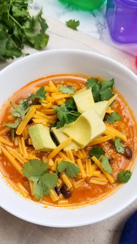 Sweet potato chili in a white bowl ready to eat.
