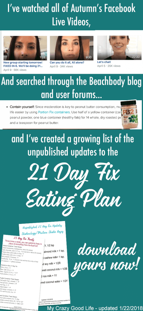 If you're struggling to find the Unpublished 21 Day Fix foods list updates, I've got them! I've searched the YouTube videos, the Facebook Live videos, and the blogs to bring it to you. Here are the updates (and free downloads) of the new treat swaps, Shakeology bases, and more!